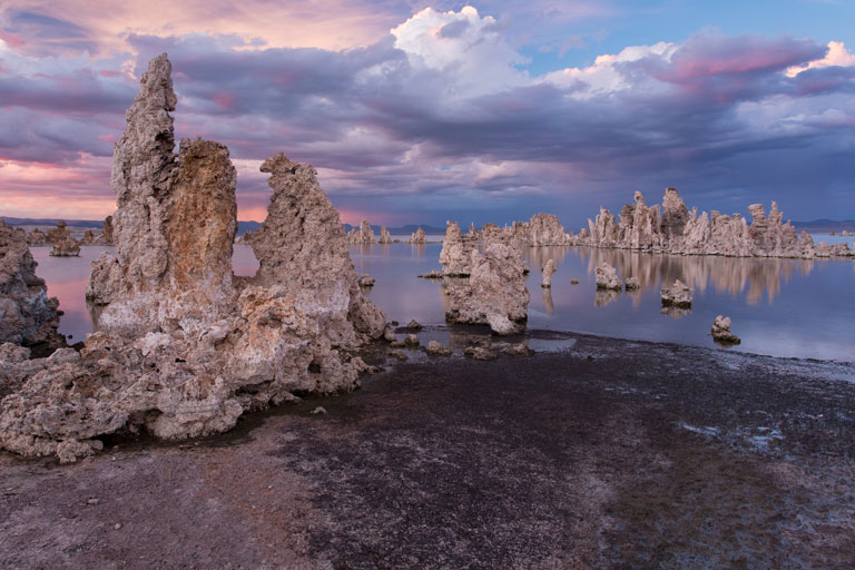Mono Lake, California sunset with pink and purple hues